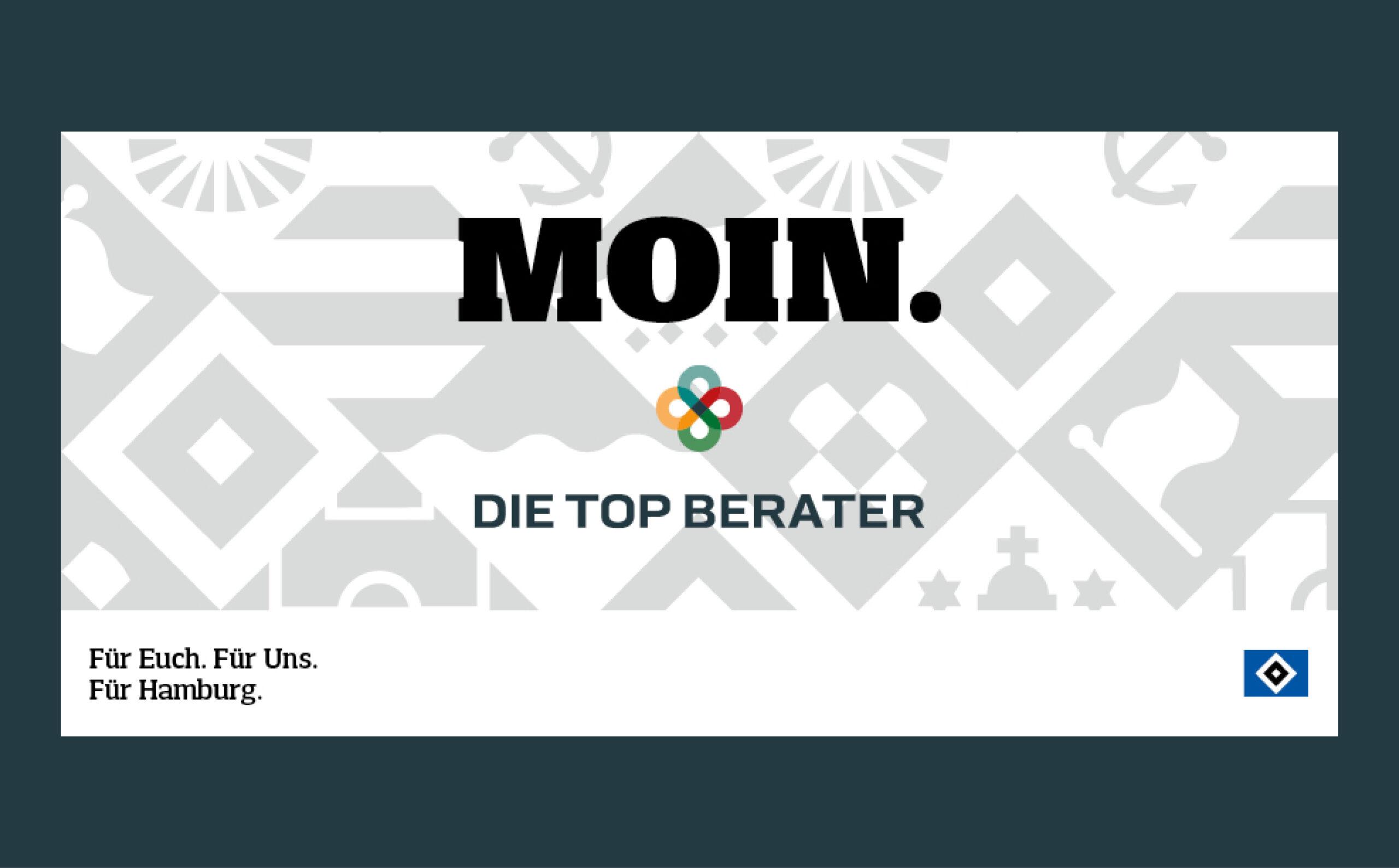 grau-weiße Grafik mit Elementen der Stadt Hamburg. Zu lesen ist in Großbuchstaben: MOIN. Darunter befindet sich das Logo von Die Top Berater